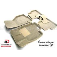Текстильные 3D коврики Euromat3D Business в салон для Kia Sorento Prime (2015-) № EMC3D-002925T Бежевые